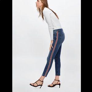 Zara women's red side stripe jeans